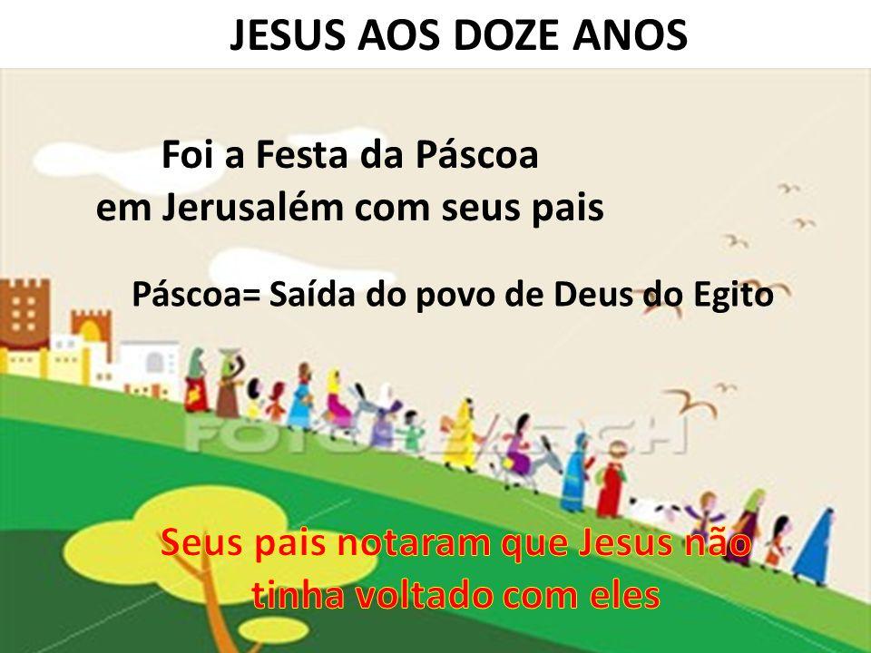 JESUS AOS DOZE ANOS Foi a Festa da Páscoa em Jerusalém com seus pais Páscoa= Saída do povo de Deus do Egito