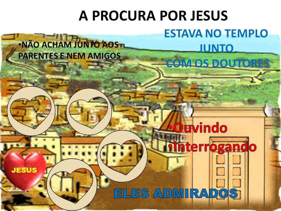 A PROCURA POR JESUS NÃO ACHAM JUNTO AOS PARENTES E NEM AMIGOS ESTAVA NO TEMPLO JUNTO COM OS DOUTORES JESUS
