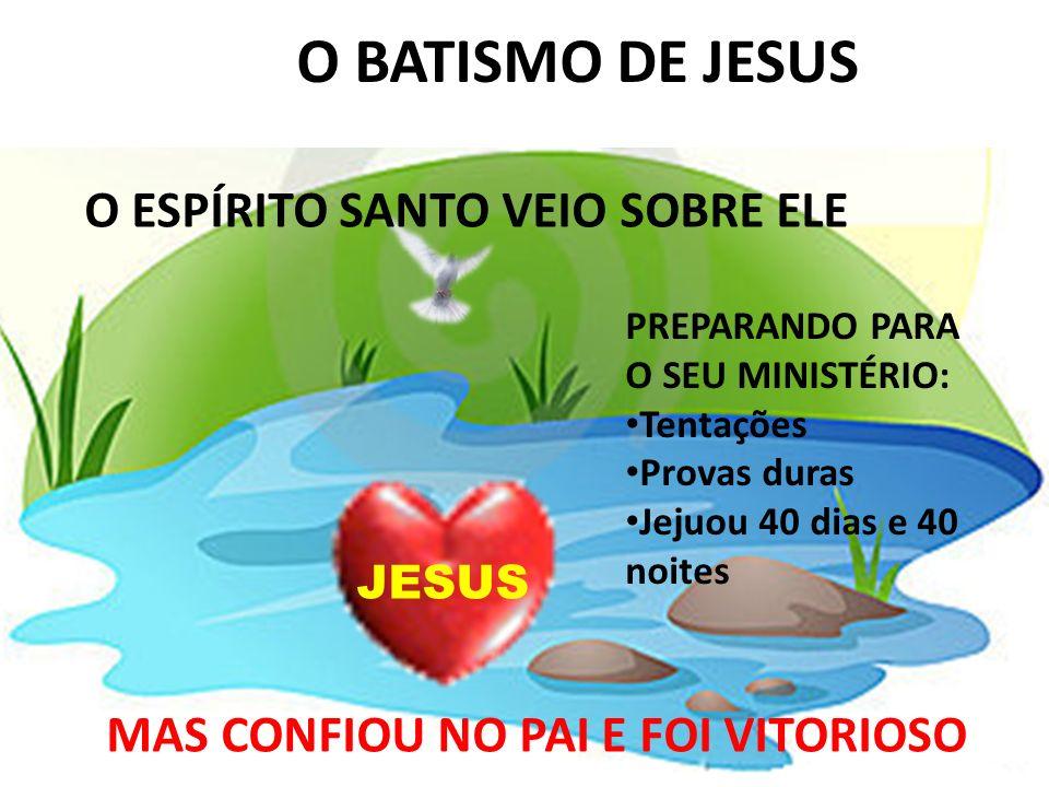 JOÃO 1:29 O BATISMO DE JESUS O ESPÍRITO SANTO VEIO SOBRE ELE JESUS PREPARANDO PARA O SEU MINISTÉRIO: Tentações Provas duras Jejuou 40 dias e 40 noites