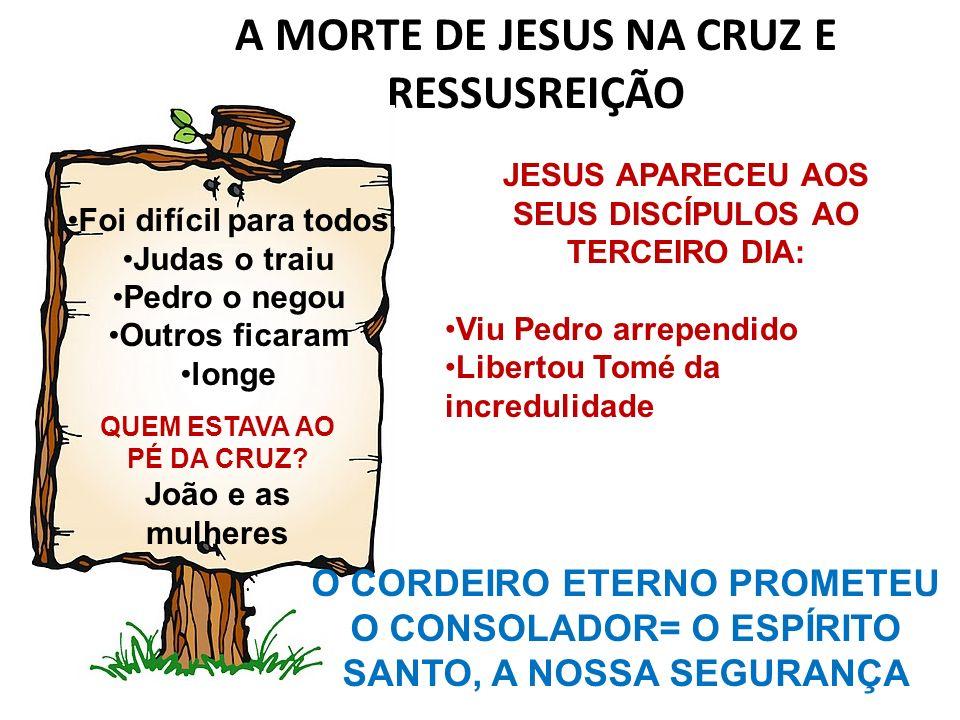 A MORTE DE JESUS NA CRUZ E RESSUSREIÇÃO QUEM ESTAVA AO PÉ DA CRUZ? João e as mulheres Foi difícil para todos Judas o traiu Pedro o negou Outros ficara
