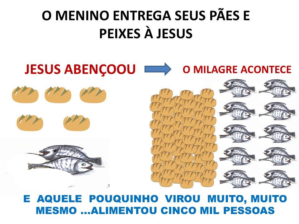 O MENINO ENTREGA SEUS PÃES E PEIXES À JESUS O MILAGRE ACONTECE JESUS ABENÇOOU E AQUELE POUQUINHO VIROU MUITO, MUITO MESMO...ALIMENTOU CINCO MIL PESSOA