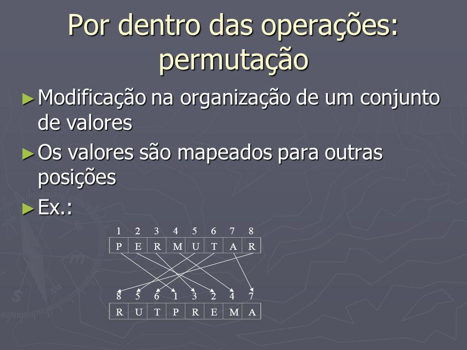Por dentro das operações: permutação Modificação na organização de um conjunto de valores Modificação na organização de um conjunto de valores Os valo