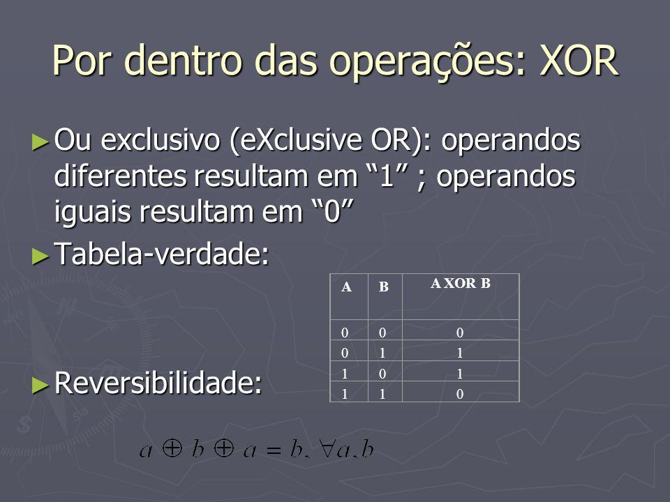 Por dentro das operações: XOR Ou exclusivo (eXclusive OR): operandos diferentes resultam em 1 ; operandos iguais resultam em 0 Ou exclusivo (eXclusive