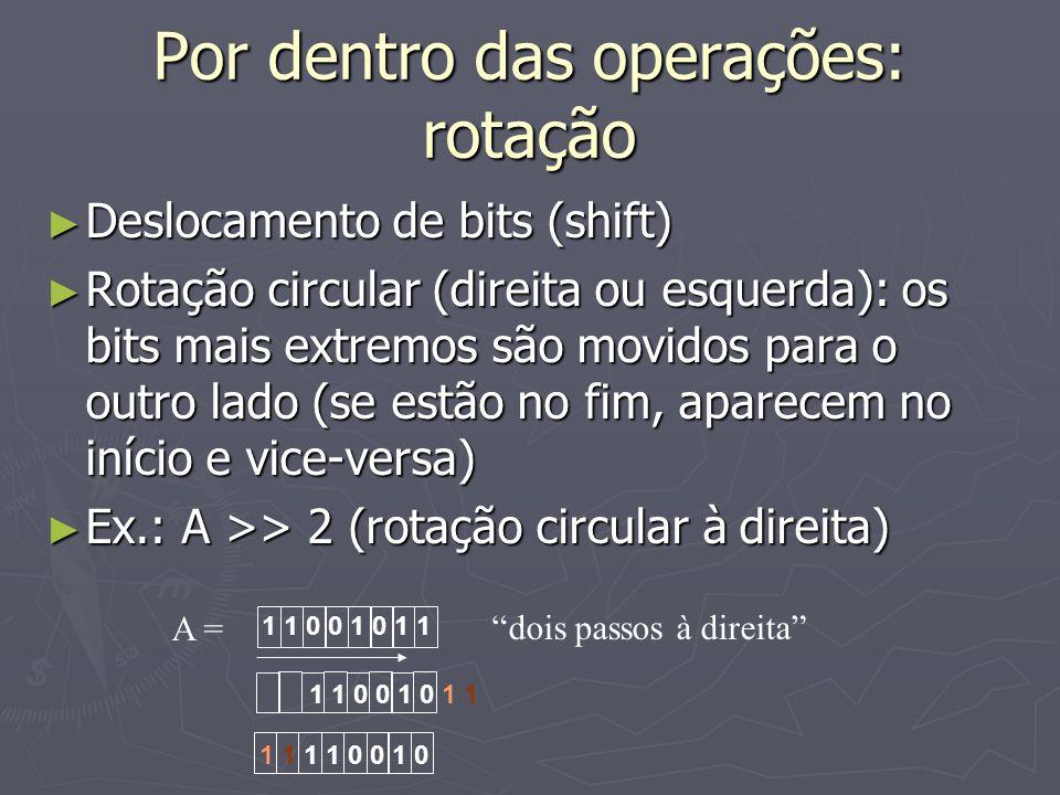 Por dentro das operações: rotação Deslocamento de bits (shift) Deslocamento de bits (shift) Rotação circular (direita ou esquerda): os bits mais extre