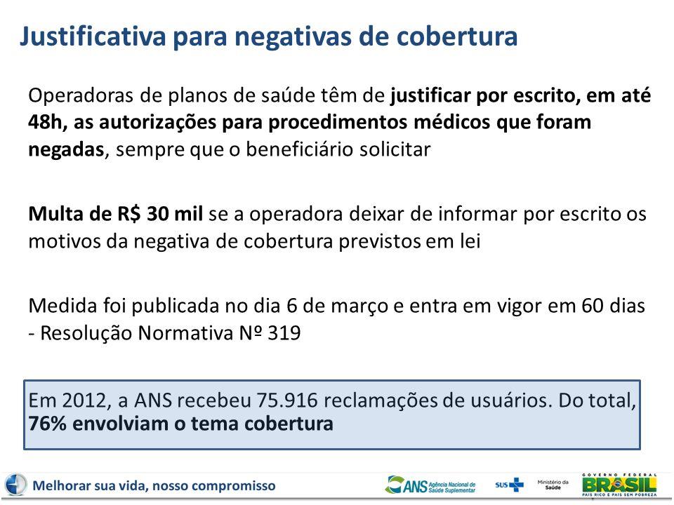 Justificativa para negativas de cobertura Operadoras de planos de saúde têm de justificar por escrito, em até 48h, as autorizações para procedimentos