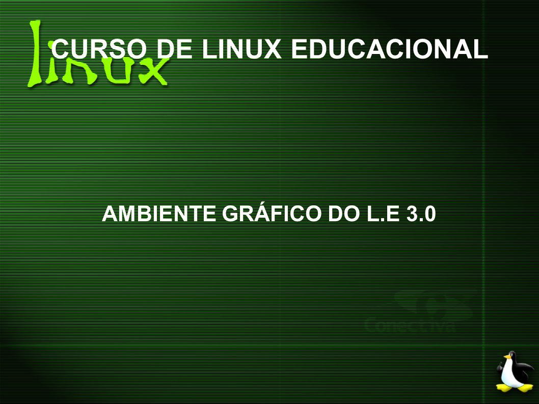 CURSO DE LINUX EDUCACIONAL AMBIENTE GRÁFICO DO L.E 3.0 * Para mover um arquivo: clique em cima do arquivo com o botão direito do mouse e selecione a opção Cortar.