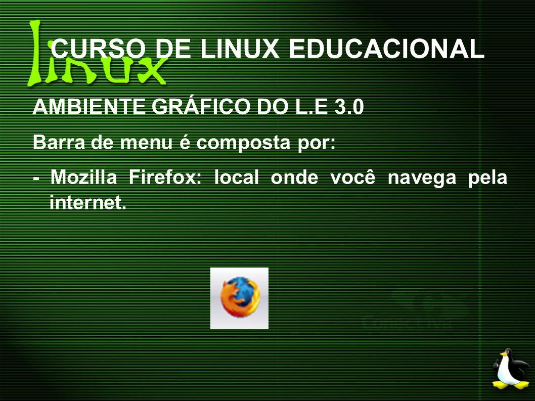 CURSO DE LINUX EDUCACIONAL AMBIENTE GRÁFICO DO L.E 3.0 Barra de menu é composta por: - Mozilla Firefox: local onde você navega pela internet.