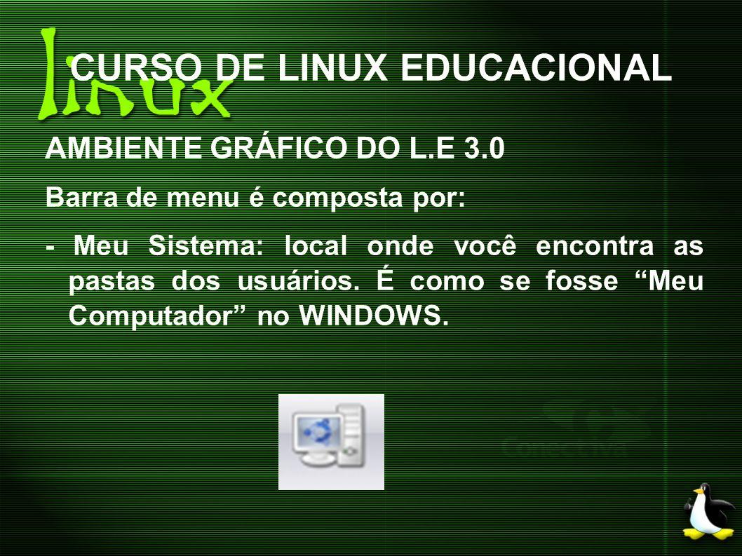 CURSO DE LINUX EDUCACIONAL AMBIENTE GRÁFICO DO L.E 3.0 Barra de menu é composta por: - Meu Sistema: local onde você encontra as pastas dos usuários. É