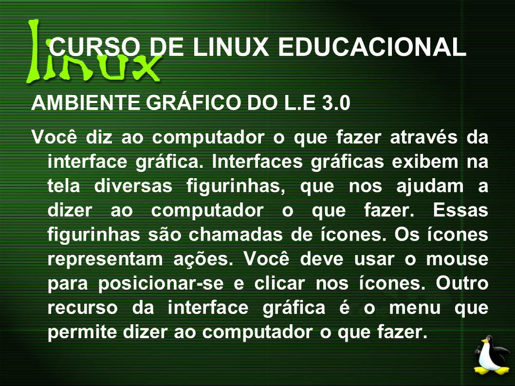 CURSO DE LINUX EDUCACIONAL AMBIENTE GRÁFICO DO L.E 3.0 Você diz ao computador o que fazer através da interface gráfica. Interfaces gráficas exibem na