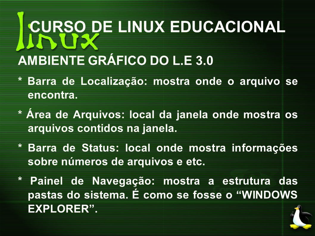CURSO DE LINUX EDUCACIONAL AMBIENTE GRÁFICO DO L.E 3.0 * Barra de Localização: mostra onde o arquivo se encontra. * Área de Arquivos: local da janela