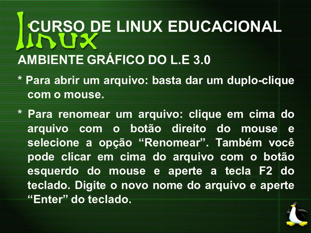 CURSO DE LINUX EDUCACIONAL AMBIENTE GRÁFICO DO L.E 3.0 * Para abrir um arquivo: basta dar um duplo-clique com o mouse. * Para renomear um arquivo: cli