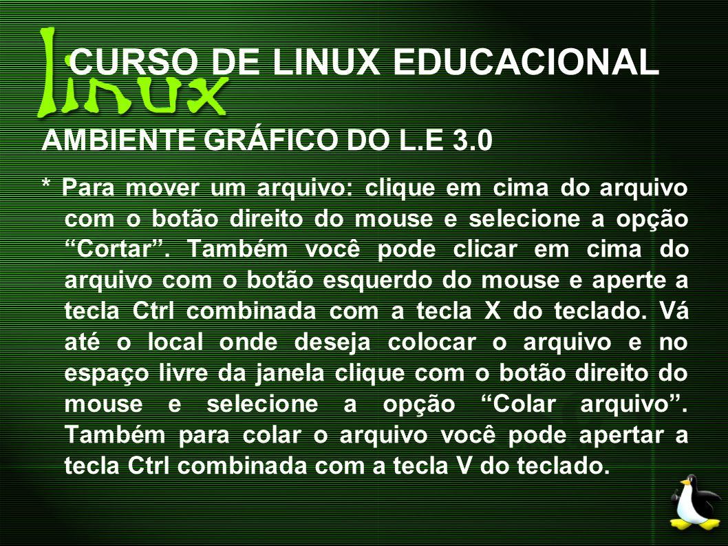 CURSO DE LINUX EDUCACIONAL AMBIENTE GRÁFICO DO L.E 3.0 * Para mover um arquivo: clique em cima do arquivo com o botão direito do mouse e selecione a o