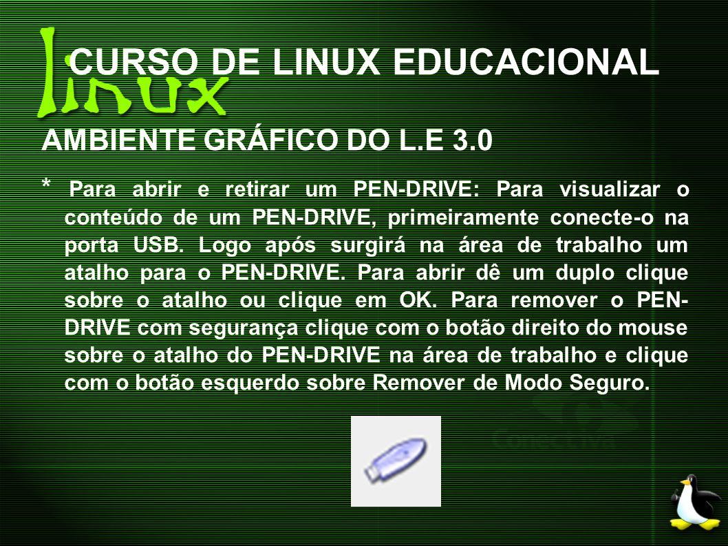 CURSO DE LINUX EDUCACIONAL AMBIENTE GRÁFICO DO L.E 3.0 * Para abrir e retirar um PEN-DRIVE: Para visualizar o conteúdo de um PEN-DRIVE, primeiramente
