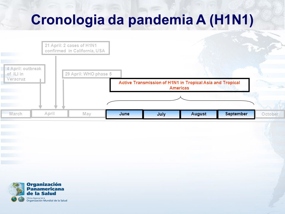 4 April: outbreak of ILI in Veracruz 29 April: WHO phase 5 April May October September March August July Active Transmission of H1N1 in Tropical Asia and Tropical Americas 21 April: 2 cases of H1N1 confirmed in California, USA June Cronologia da pandemia A (H1N1)