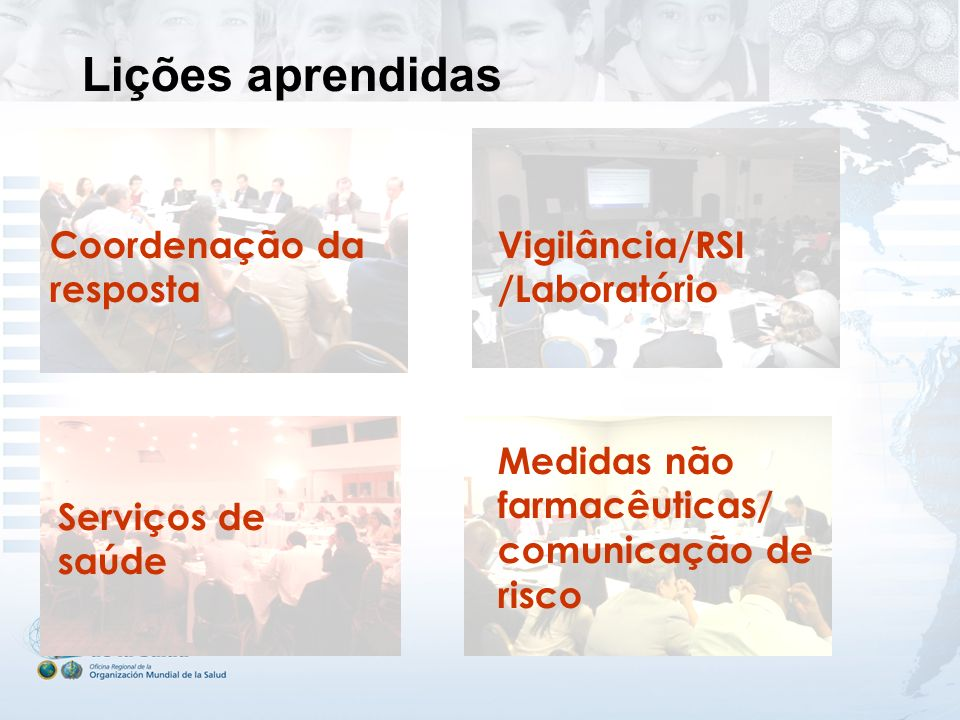 Lições aprendidas Coordenação da resposta Vigilância/RSI /Laboratório Serviços de saúde Medidas não farmacêuticas/ comunicação de risco