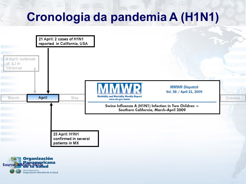 4 April: outbreak of ILI in Veracruz May June July August October September March 21 April: 2 cases of H1N1 reported in California, USA 23 April: H1N1 confirmed in several patients in MX April Source: MMWR, 58(15) Cronologia da pandemia A (H1N1)