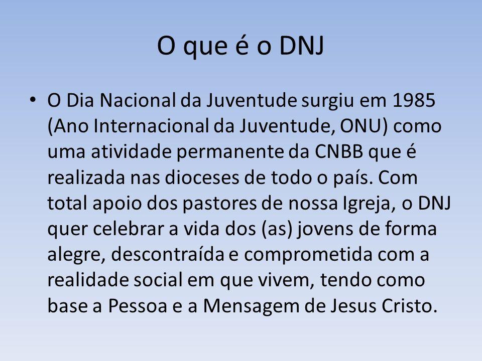 O que é o DNJ O Dia Nacional da Juventude surgiu em 1985 (Ano Internacional da Juventude, ONU) como uma atividade permanente da CNBB que é realizada n