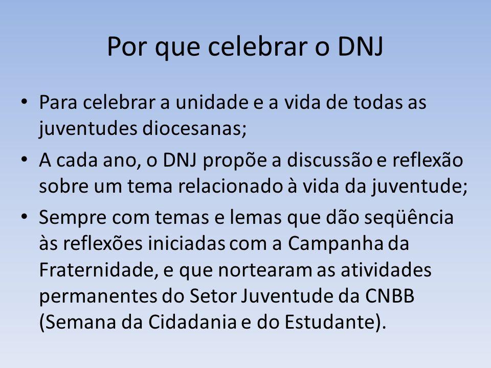 Por que celebrar o DNJ Para celebrar a unidade e a vida de todas as juventudes diocesanas; A cada ano, o DNJ propõe a discussão e reflexão sobre um te