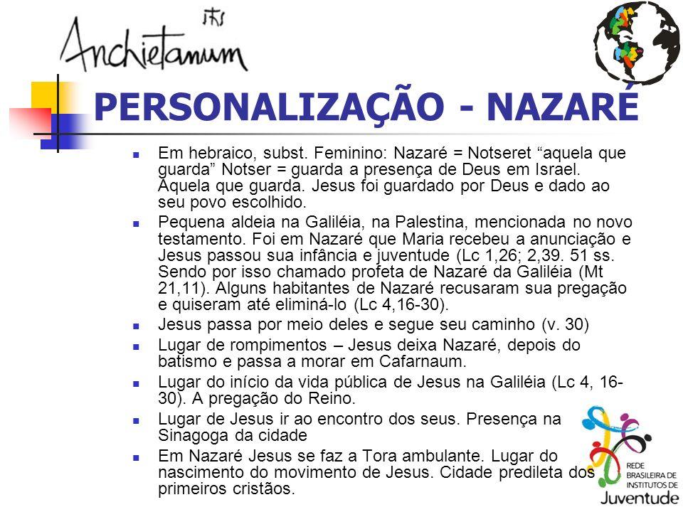 PERSONALIZAÇÃO - NAZARÉ Em hebraico, subst. Feminino: Nazaré = Notseret aquela que guarda Notser = guarda a presença de Deus em Israel. Aquela que gua