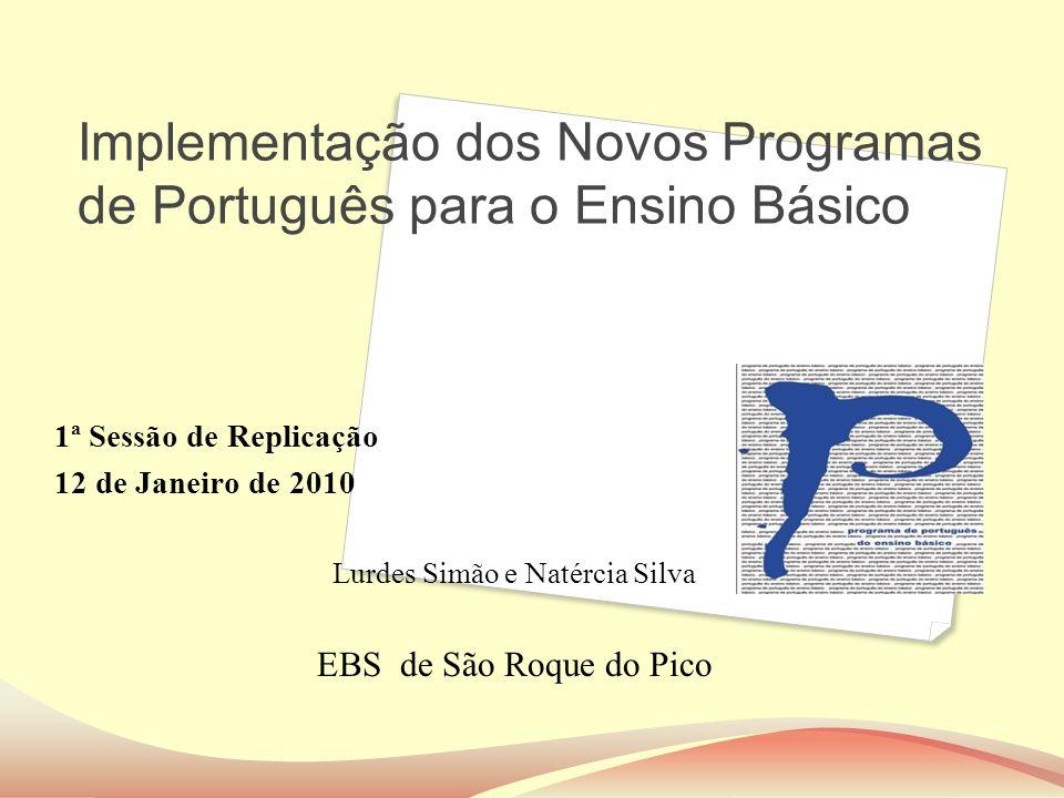 Implementação dos Novos Programas de Português para o Ensino Básico 1ª Sessão de Replicação 12 de Janeiro de 2010 Lurdes Simão e Natércia Silva EBS de