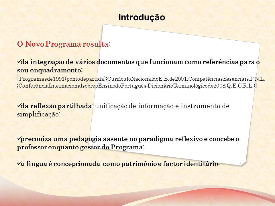 Introdução O Novo Programa resulta: da integração de vários documentos que funcionam como referências para o seu enquadramento: [ Programasde1991(pont