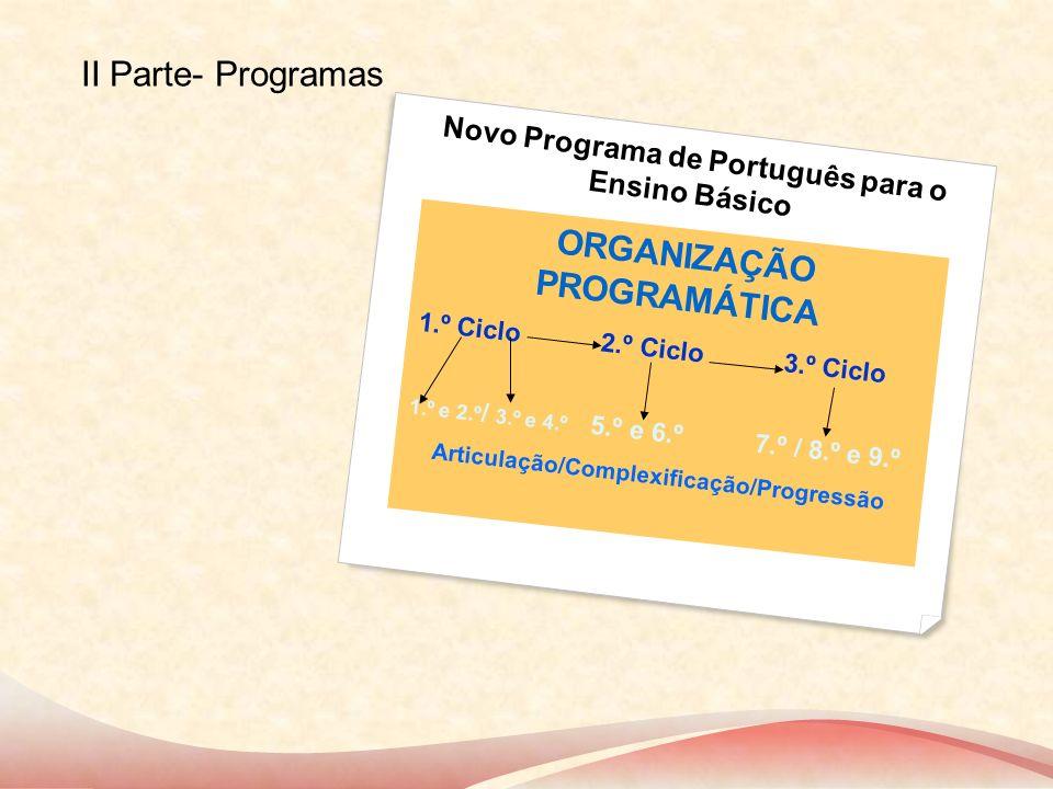 Novo Programa de Português para o Ensino Básico ORGANIZAÇÃO PROGRAMÁTICA 1.º Ciclo 2.º Ciclo 3.º Ciclo 1.º e 2.º / 3.º e 4.º 5.º e 6.º 7.º / 8.º e 9.º