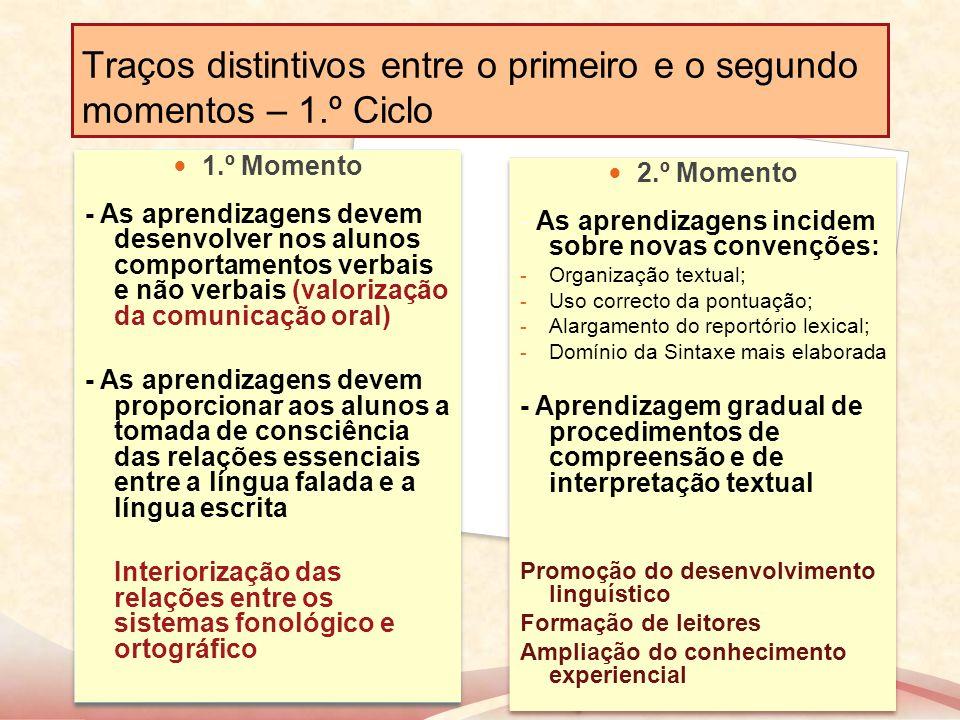 Traços distintivos entre o primeiro e o segundo momentos – 1.º Ciclo 1.º Momento - As aprendizagens devem desenvolver nos alunos comportamentos verbai