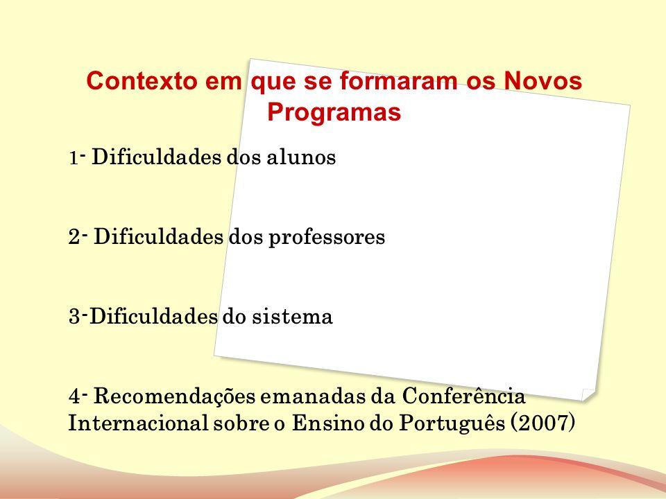 1 - Dificuldades dos alunos 2- Dificuldades dos professores 3-Dificuldades do sistema 4- Recomendações emanadas da Conferência Internacional sobre o E