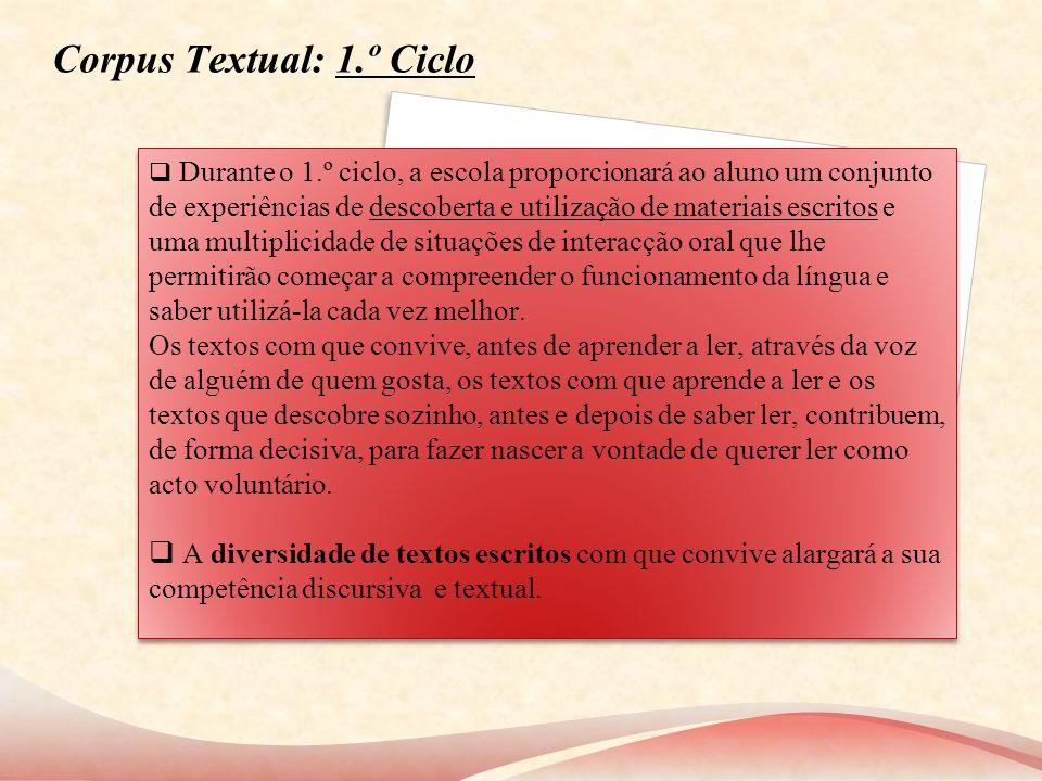 Corpus Textual: 1.º Ciclo Durante o 1.º ciclo, a escola proporcionará ao aluno um conjunto de experiências de descoberta e utilização de materiais esc