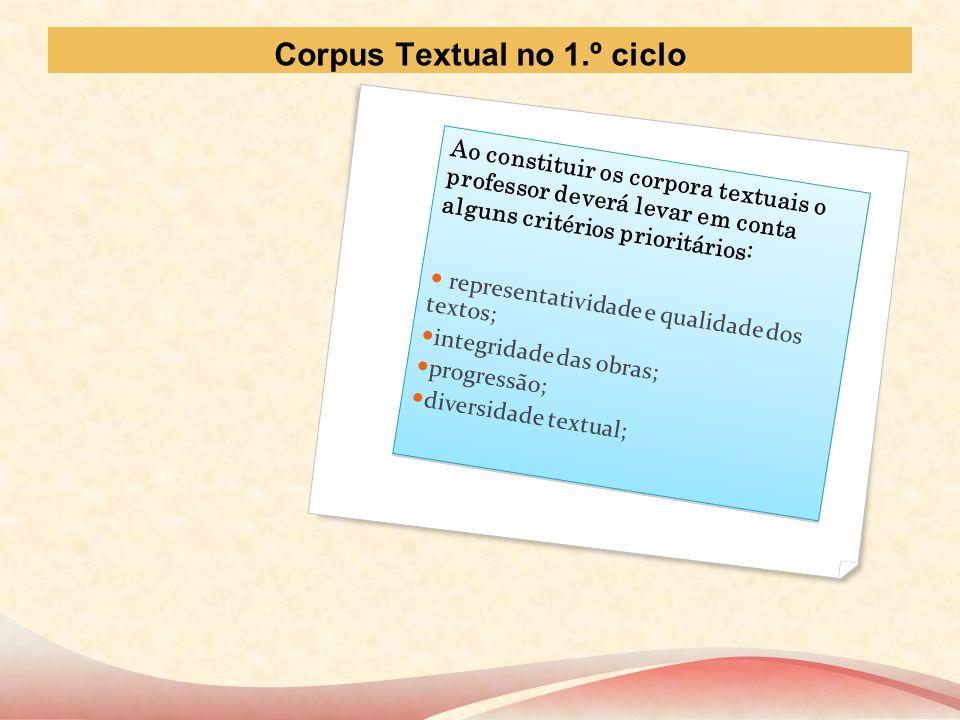 Corpus Textual no 1.º ciclo Ao constituir os corpora textuais o professor deverá levar em conta alguns critérios prioritários: representatividade e qu