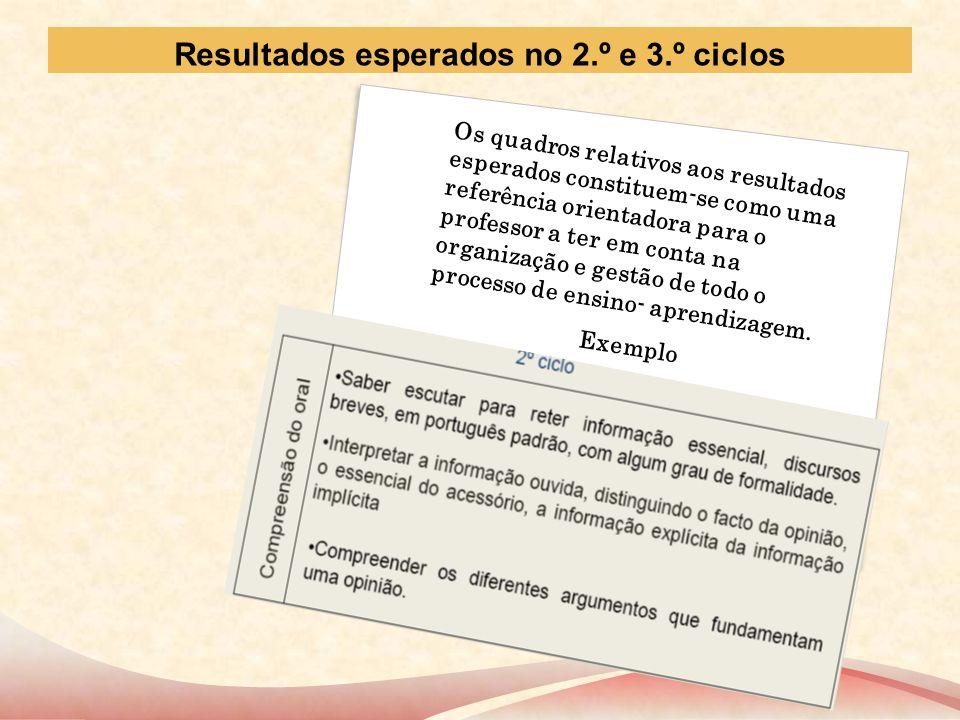 Resultados esperados no 2.º e 3.º ciclos Os quadros relativos aos resultados esperados constituem-se como uma referência orientadora para o professor