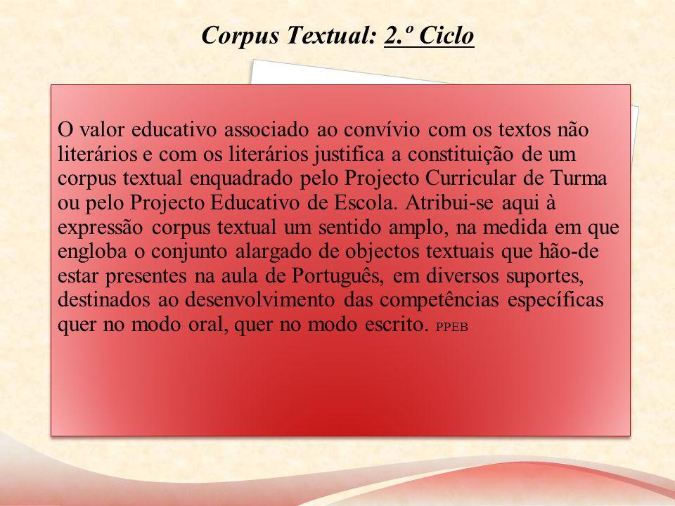 Corpus Textual: 2.º Ciclo O valor educativo associado ao convívio com os textos não literários e com os literários justifica a constituição de um corp