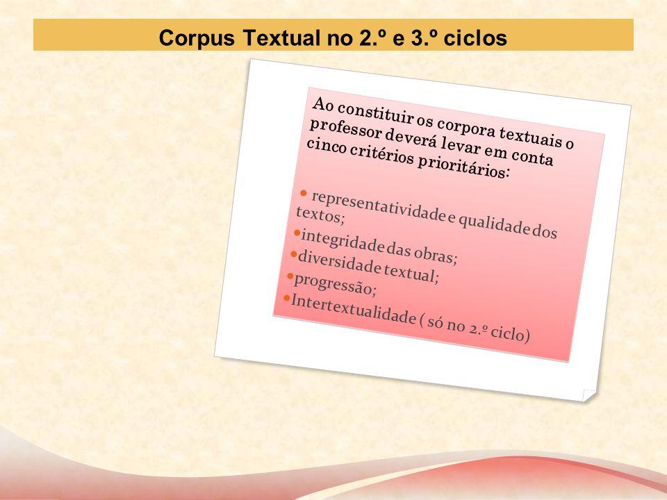 Corpus Textual no 2.º e 3.º ciclos Ao constituir os corpora textuais o professor deverá levar em conta cinco critérios prioritários: representatividad