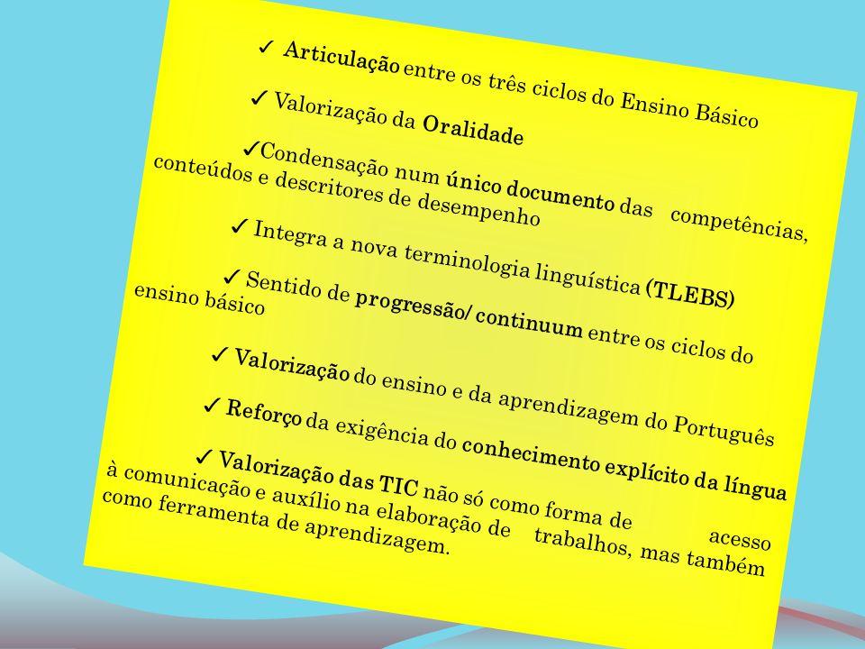 Articulação entre os três ciclos do Ensino Básico Valorização da Oralidade Condensação num único documento das competências, conteúdos e descritores d