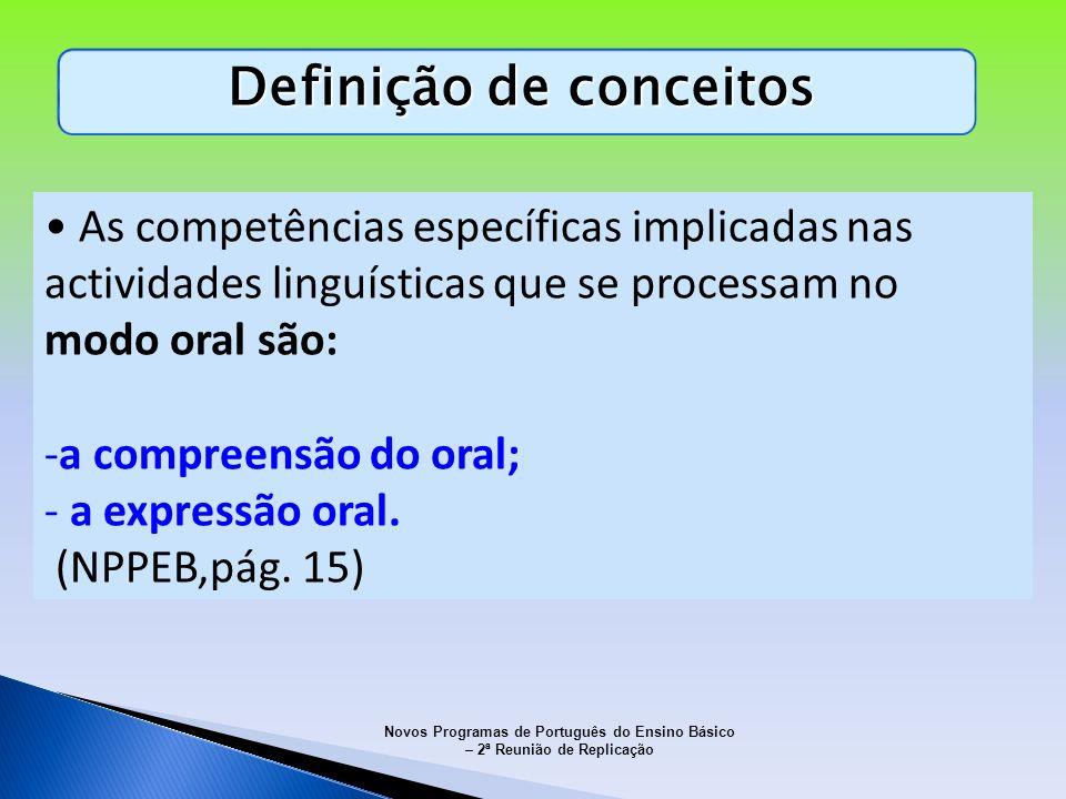 Definição de conceitos As competências específicas implicadas nas actividades linguísticas que se processam no modo oral são: -a compreensão do oral;