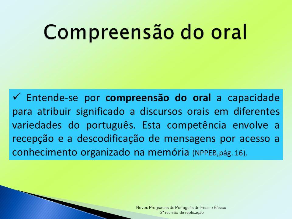 Novos Programas de Português do Ensino Básico 2ª reunião de replicação Entendese por compreensão do oral a capacidade para atribuir significado a disc