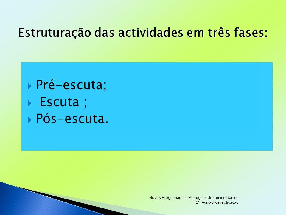 Pré-escuta; Escuta ; Pós-escuta. Estruturação das actividades em três fases: Novos Programas de Português do Ensino Básico 2ª reunião de replicação