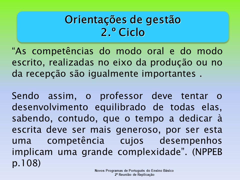 Novos Programas de Português do Ensino Básico 2ª Reunião de Replicação As competências do modo oral e do modo escrito, realizadas no eixo da produção