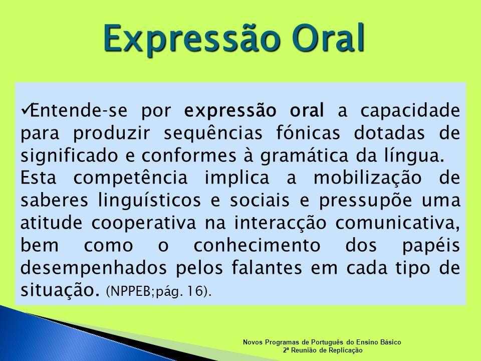 Expressão Oral Novos Programas de Português do Ensino Básico 2ª Reunião de Replicação Entendese por expressão oral a capacidade para produzir sequênci