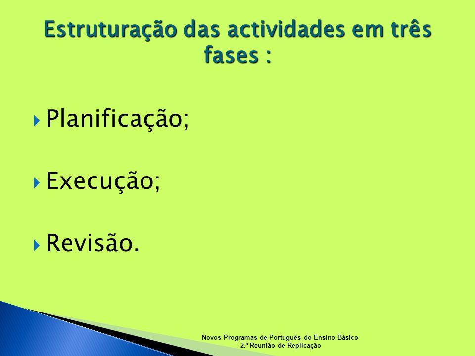 Planificação; Execução; Revisão. Estruturação das actividades em três fases : Novos Programas de Português do Ensino Básico 2.ª Reunião de Replicação