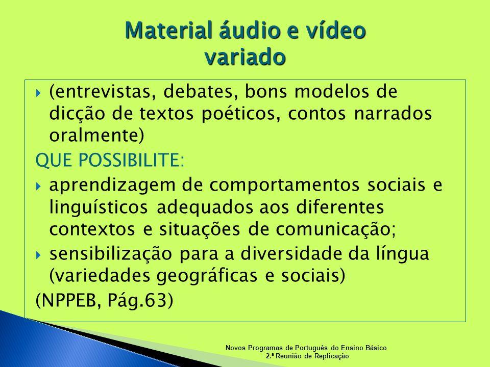 (entrevistas, debates, bons modelos de dicção de textos poéticos, contos narrados oralmente) QUE POSSIBILITE: aprendizagem de comportamentos sociais e