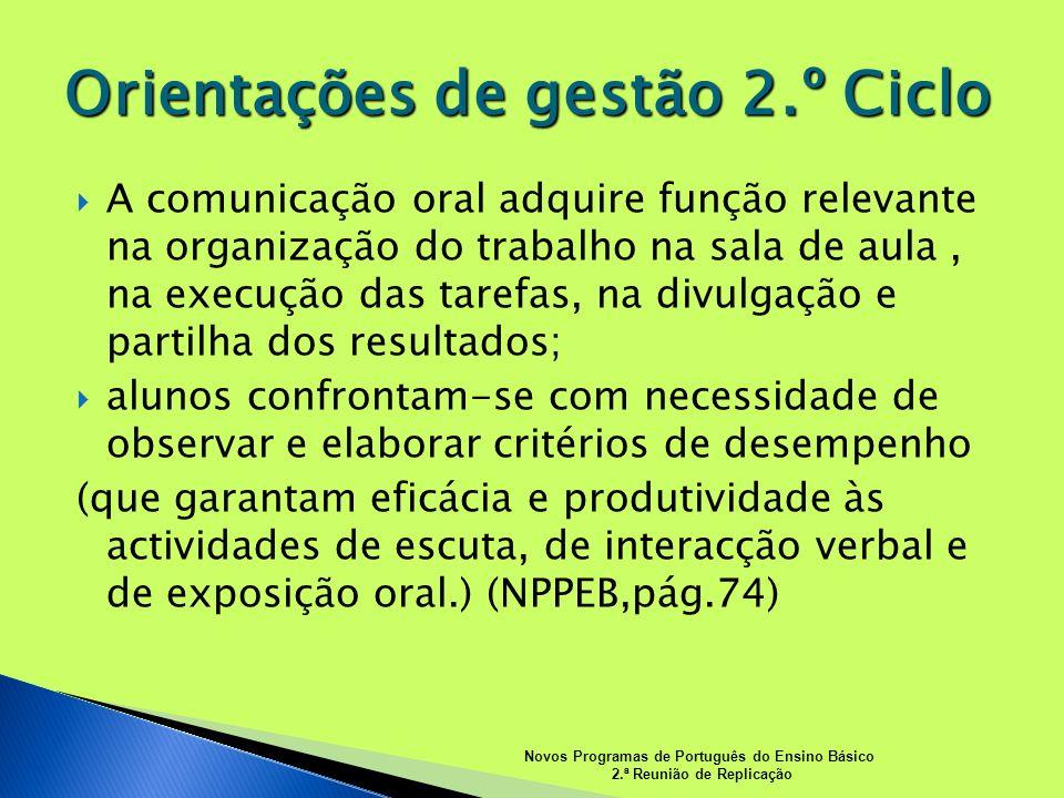 A comunicação oral adquire função relevante na organização do trabalho na sala de aula, na execução das tarefas, na divulgação e partilha dos resultad