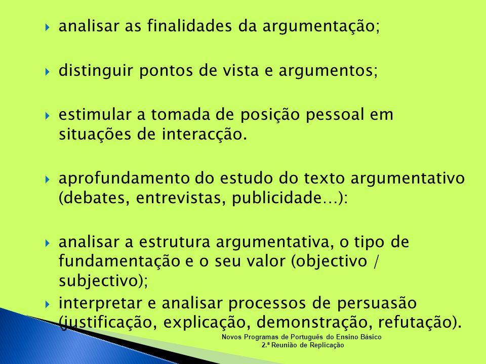 analisar as finalidades da argumentação; distinguir pontos de vista e argumentos; estimular a tomada de posição pessoal em situações de interacção. ap