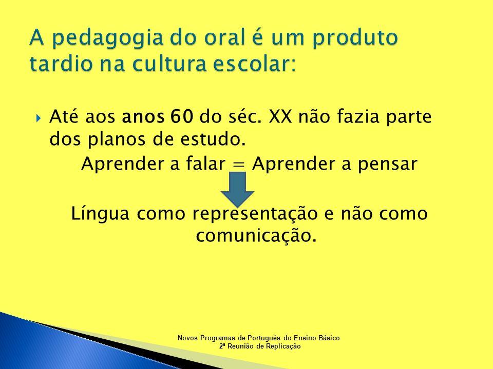 Até aos anos 60 do séc. XX não fazia parte dos planos de estudo. Aprender a falar = Aprender a pensar Língua como representação e não como comunicação