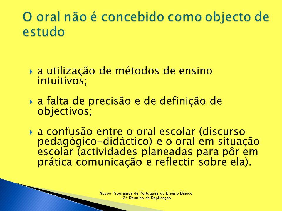 a utilização de métodos de ensino intuitivos; a falta de precisão e de definição de objectivos; a confusão entre o oral escolar (discurso pedagógico-d