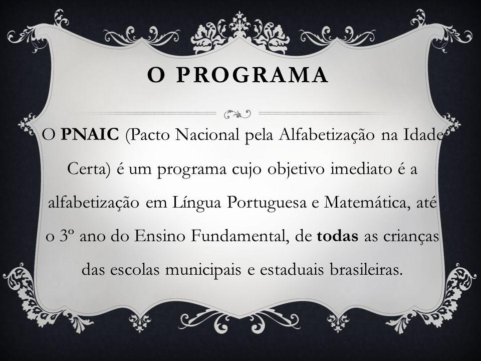 O PROGRAMA O PNAIC (Pacto Nacional pela Alfabetização na Idade Certa) é um programa cujo objetivo imediato é a alfabetização em Língua Portuguesa e Ma