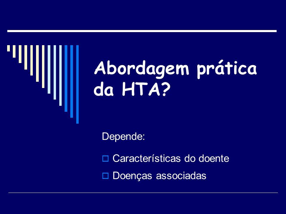 Abordagem prática da HTA? Depende: Características do doente Doenças associadas