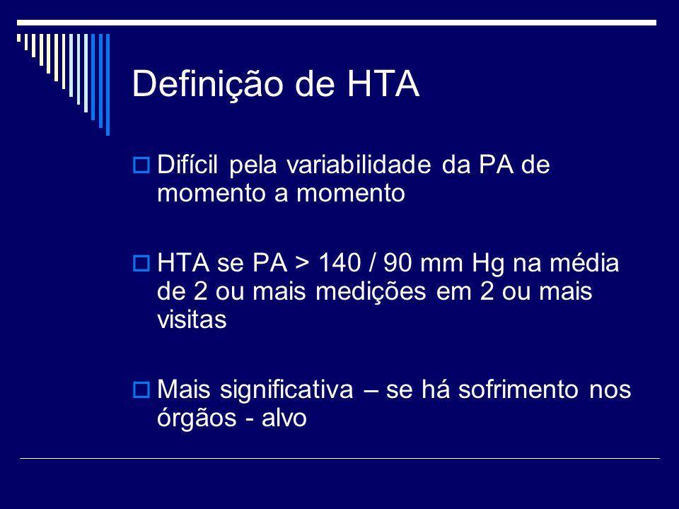 Definição de HTA Difícil pela variabilidade da PA de momento a momento HTA se PA > 140 / 90 mm Hg na média de 2 ou mais medições em 2 ou mais visitas Mais significativa – se há sofrimento nos órgãos - alvo