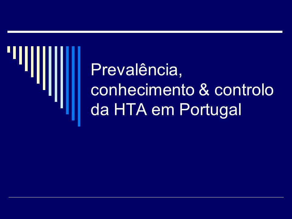 Espiga Macedo et al, J Hypertension 2005 Prevalência da Hipertensão em Portugal Prevalência da Hipertensão em Portugal (PA > 140 / 90 mm Hg) Total 42,1 %