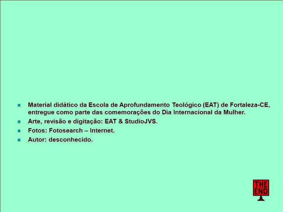 Material didático da Escola de Aprofundamento Teológico (EAT) de Fortaleza-CE, entregue como parte das comemorações do Dia Internacional da Mulher. Ma